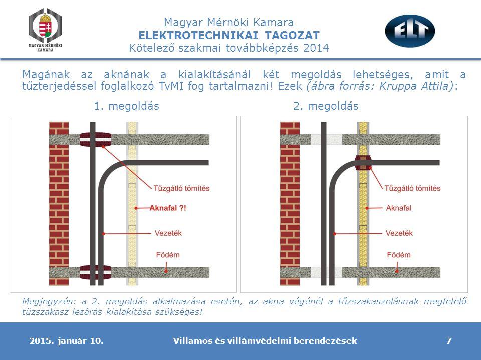 Magyar Mérnöki Kamara ELEKTROTECHNIKAI TAGOZAT Kötelező szakmai továbbképzés 2014 A villamos berendezésekre vonatkozóan – véleményem szerint – az eddigi gyakorlat továbbra is alkalmazható: -Tűzeseti lekapcsolás továbbra is követelmény, a kialakítása:  az egyszerűbb esetekben nincs tűzeseti fogyasztó, egy tűzeseti főkapcsoló  ugyanez, de van tűzeseti fogyasztó, akkor két tűzeseti főkapcsoló (épület általános villamos berendezésének, és a tűzeseti fogyasztóknak  bonyolultabb esetben, van tűzeseti fogyasztó, sőt több különböző rendeltetésű, melyet külön tűzeseti kapcsolóval kell ellátni, valamint az általános villamos berendezés több tűzszakaszra osztott és lehetőség van a tűzszakaszonkénti lekapcsolásra, akkor itt is több tűzeseti kapcsoló létesítendő Villamos és villámvédelmi berendezések82015.