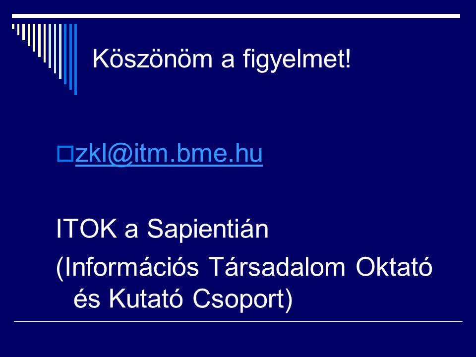 Köszönöm a figyelmet!  zkl@itm.bme.hu zkl@itm.bme.hu ITOK a Sapientián (Információs Társadalom Oktató és Kutató Csoport)