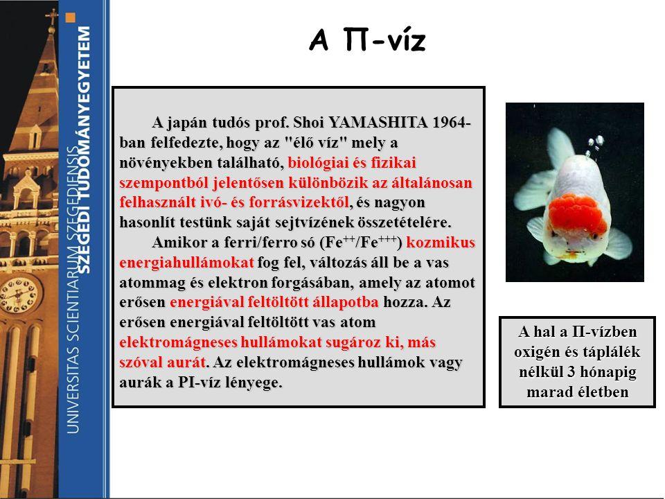 A Π-víz A japán tudós prof. Shoi YAMASHITA 1964- ban felfedezte, hogy az