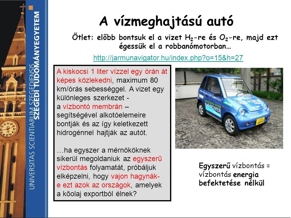 A vízmeghajtású autó Ötlet: előbb bontsuk el a vizet H 2 -re és O 2 -re, majd ezt égessük el a robbanómotorban… A kiskocsi 1 liter vízzel egy órán át