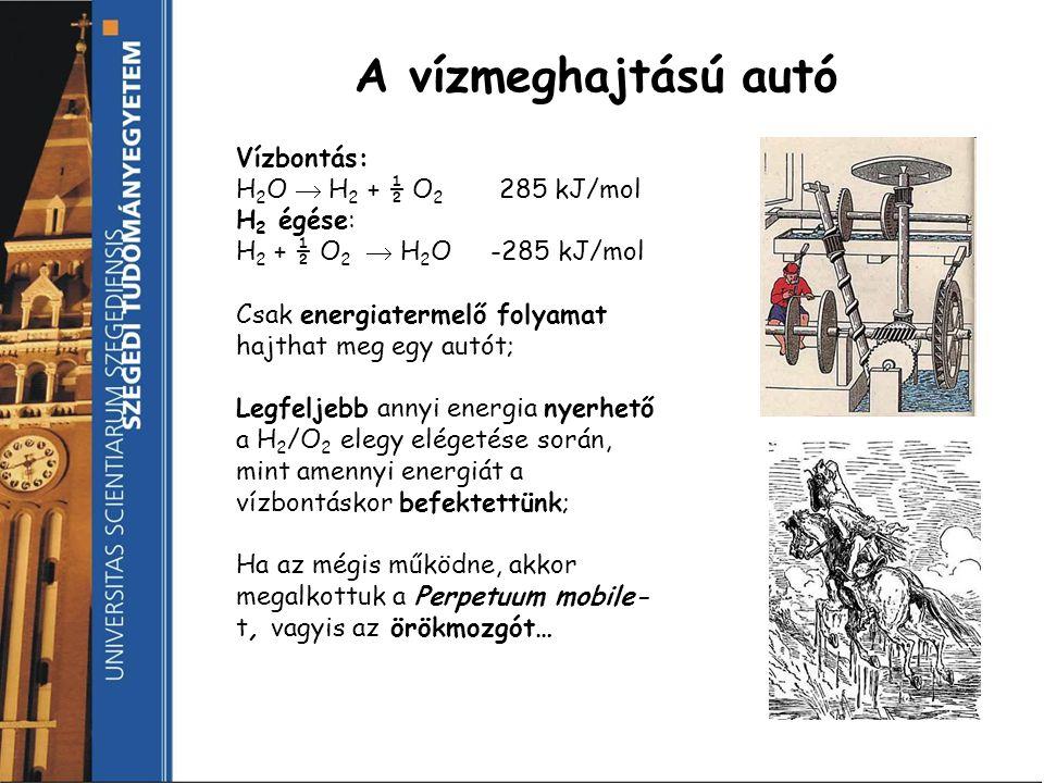 A vízmeghajtású autó Vízbontás: H 2 O  H 2 + ½ O 2 285 kJ/mol H 2 égése: H 2 + ½ O 2  H 2 O -285 kJ/mol Csak energiatermelő folyamat hajthat meg egy