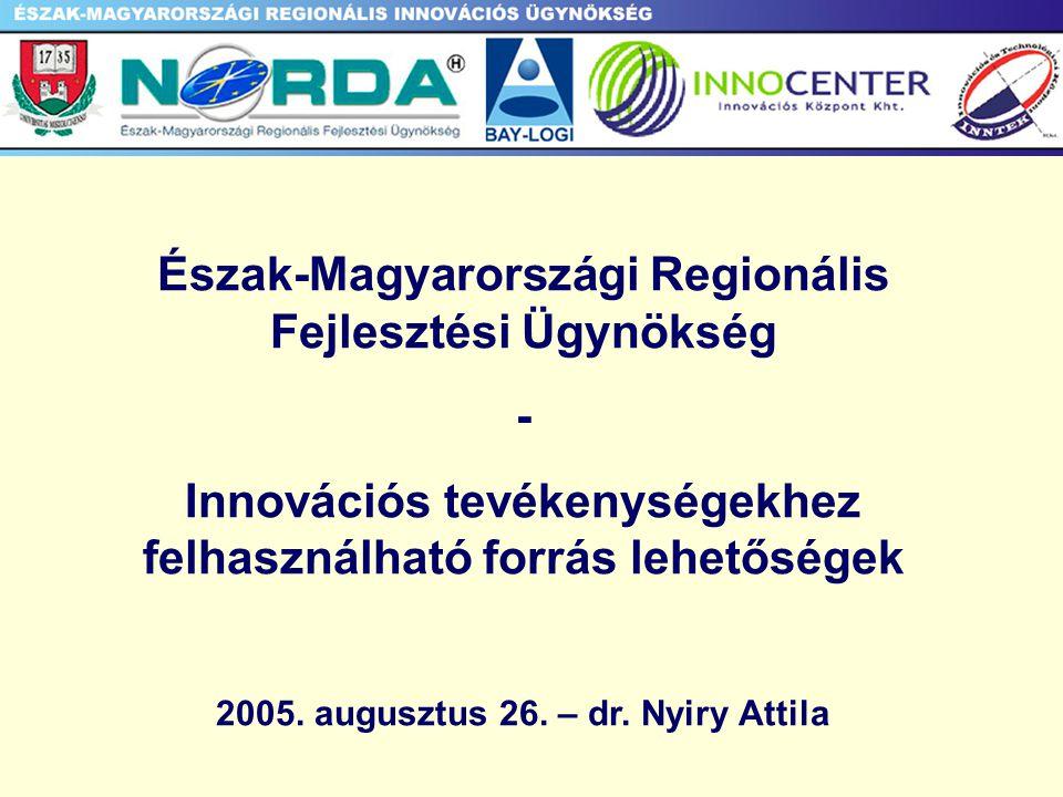 Észak-Magyarországi Regionális Fejlesztési Ügynökség - Innovációs tevékenységekhez felhasználható forrás lehetőségek 2005.