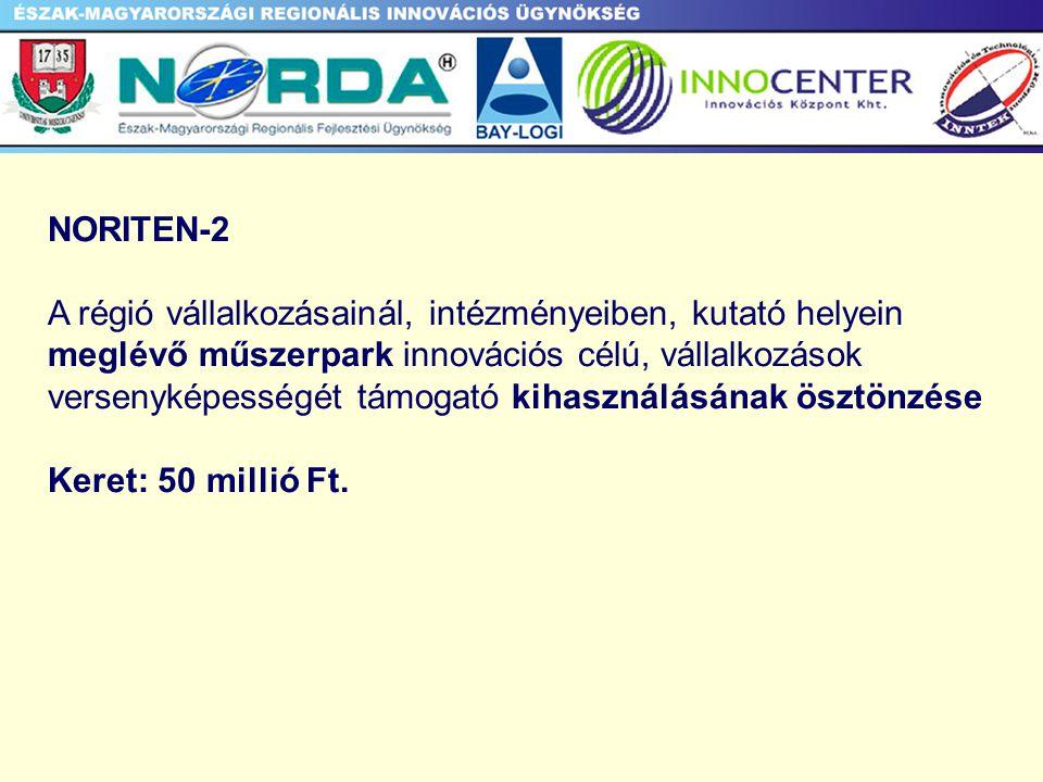 NORITEN-2 A régió vállalkozásainál, intézményeiben, kutató helyein meglévő műszerpark innovációs célú, vállalkozások versenyképességét támogató kihasználásának ösztönzése Keret: 50 millió Ft.