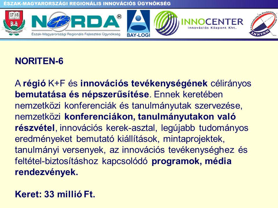 NORITEN-6 A régió K+F és innovációs tevékenységének célirányos bemutatása és népszerűsítése.