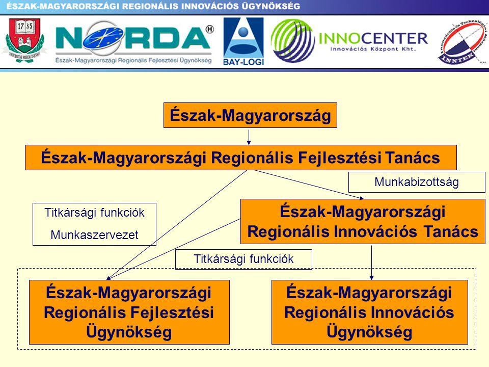 AZ ÜGYNÖKSÉG SZEREPE - Innovációhoz kapcsolódó szervezetek együttműködésének koordinálása és integrálása - Projektgeneráló, és pilot projekteket támogató tevékenység - Hálózati klaszterek menedzselése - Innovációs folyamathoz kapcsolódó szolgáltató tevékenység -Információs központ, adatbázis létrehozása és működ- tetése - Innovációs tevékenység felmérése, elemzése, értékelése
