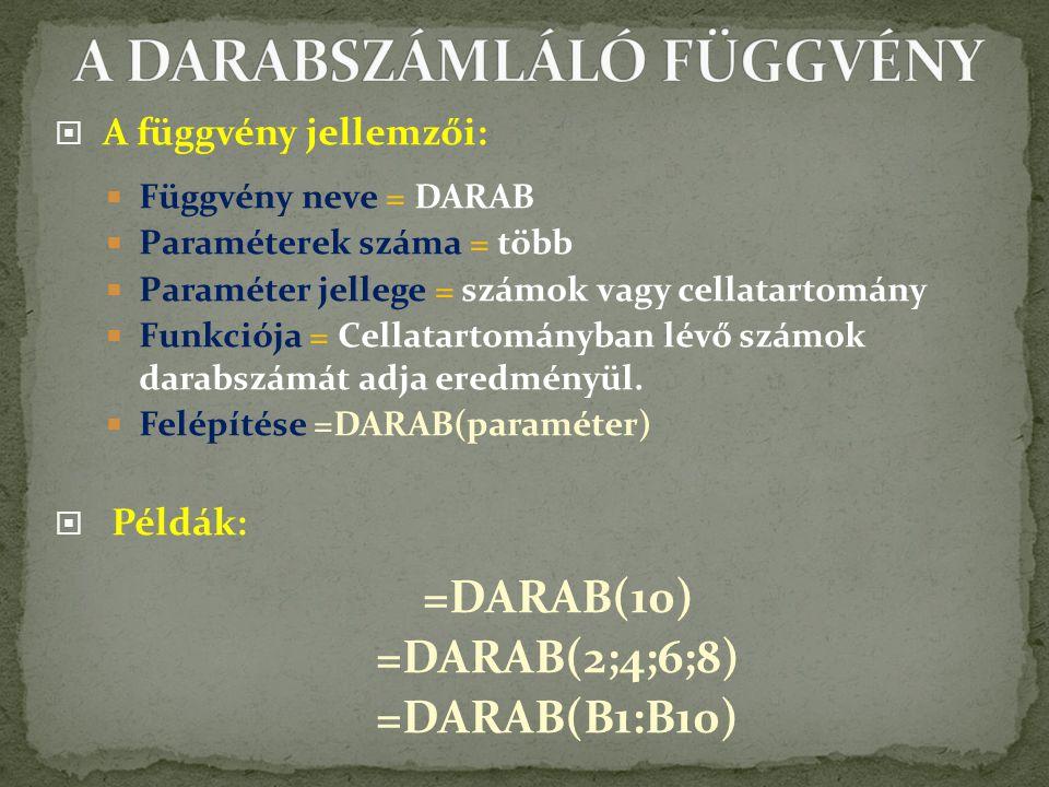  A függvény jellemzői:  Függvény neve = DARAB  Paraméterek száma = több  Paraméter jellege = számok vagy cellatartomány  Funkciója = Cellatartományban lévő számok darabszámát adja eredményül.