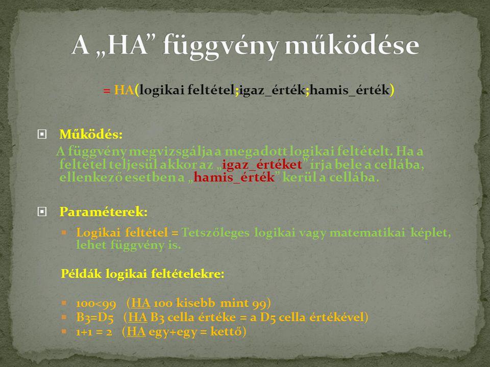= HA(logikai feltétel;igaz_érték;hamis_érték)  Működés: A függvény megvizsgálja a megadott logikai feltételt.