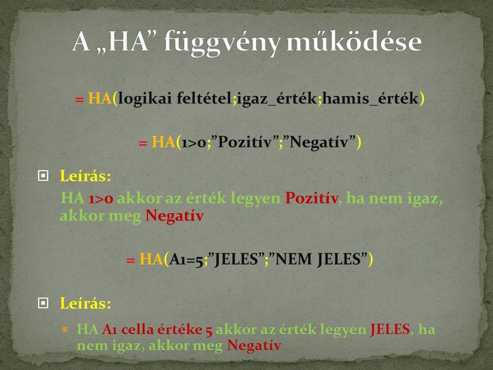= HA(logikai feltétel;igaz_érték;hamis_érték) = HA(1>0; Pozitív ; Negatív )  Leírás: HA 1>0 akkor az érték legyen Pozitív, ha nem igaz, akkor meg Negatív = HA(A1=5; JELES ; NEM JELES )  Leírás:  HA A1 cella értéke 5 akkor az érték legyen JELES, ha nem igaz, akkor meg Negatív