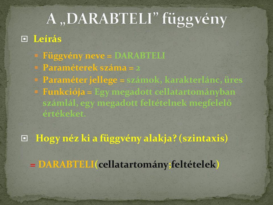  Leírás  Függvény neve = DARABTELI  Paraméterek száma = 2  Paraméter jellege = számok, karakterlánc, üres  Funkciója = Egy megadott cellatartományban számlál, egy megadott feltételnek megfelelő értékeket.