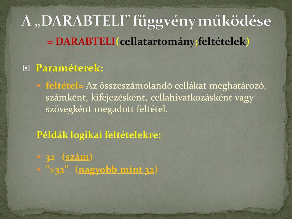 = DARABTELI(cellatartomány;feltételek)  Paraméterek:  feltétel= Az összeszámolandó cellákat meghatározó, számként, kifejezésként, cellahivatkozásként vagy szövegként megadott feltétel.