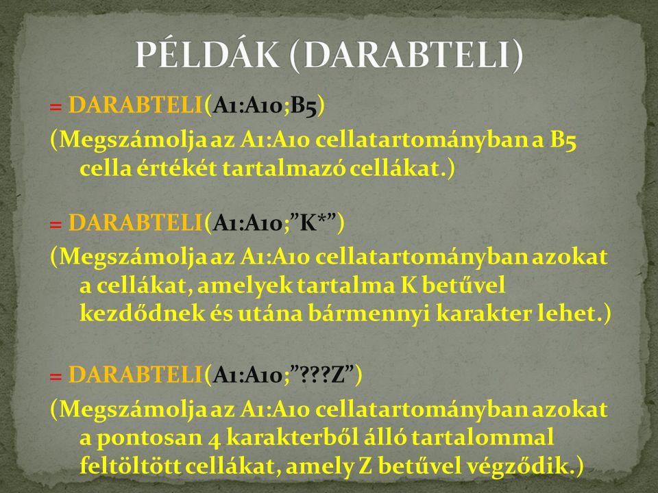 = DARABTELI(A1:A10;B5) (Megszámolja az A1:A10 cellatartományban a B5 cella értékét tartalmazó cellákat.) = DARABTELI(A1:A10; K* ) (Megszámolja az A1:A10 cellatartományban azokat a cellákat, amelyek tartalma K betűvel kezdődnek és utána bármennyi karakter lehet.) = DARABTELI(A1:A10; ???Z ) (Megszámolja az A1:A10 cellatartományban azokat a pontosan 4 karakterből álló tartalommal feltöltött cellákat, amely Z betűvel végződik.)