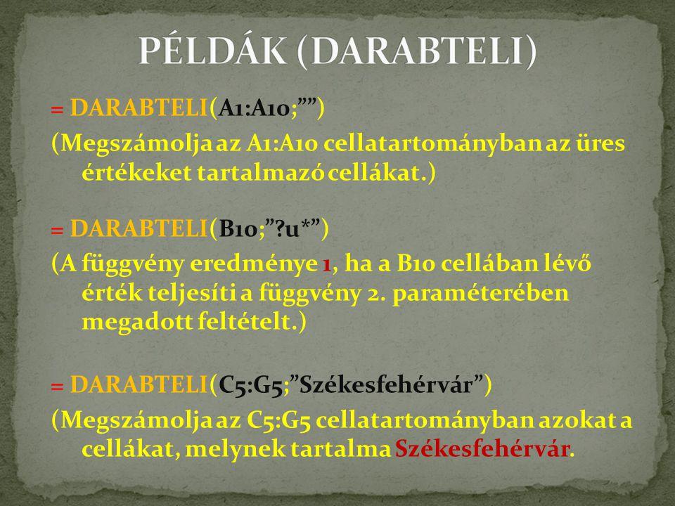 = DARABTELI(A1:A10; ) (Megszámolja az A1:A10 cellatartományban az üres értékeket tartalmazó cellákat.) = DARABTELI(B10; ?u* ) (A függvény eredménye 1, ha a B10 cellában lévő érték teljesíti a függvény 2.