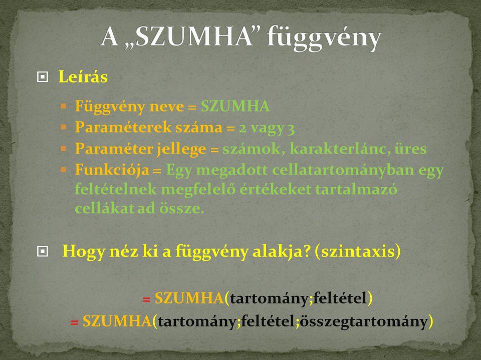  Leírás  Függvény neve = SZUMHA  Paraméterek száma = 2 vagy 3  Paraméter jellege = számok, karakterlánc, üres  Funkciója = Egy megadott cellatartományban egy feltételnek megfelelő értékeket tartalmazó cellákat ad össze.