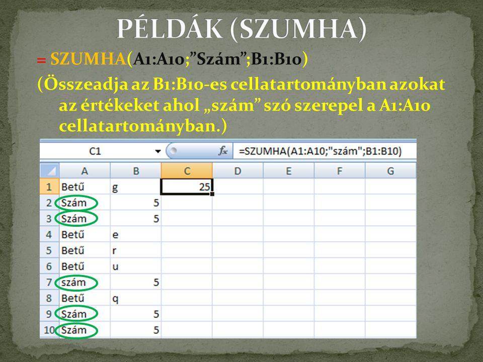 """= SZUMHA(A1:A10; Szám ;B1:B10) (Összeadja az B1:B10-es cellatartományban azokat az értékeket ahol """"szám szó szerepel a A1:A10 cellatartományban.)"""