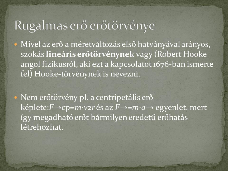 Mivel az erő a méretváltozás első hatványával arányos, szokás lineáris erőtörvénynek vagy (Robert Hooke angol fizikusról, aki ezt a kapcsolatot 1676-b