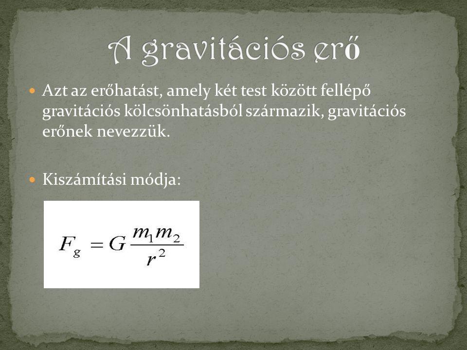 A két test között fellépő gravitációs erő nagysága egyenesen arányos a testek tömegével és fordítottan arányos a közöttük levő távolság négyzetével: f – gravitációs állandó m 1 és m 2 – testek tömege r – közöttük levő távolság