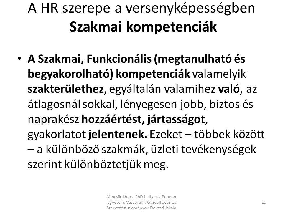 A HR szerepe a versenyképességben Szakmai kompetenciák A Szakmai, Funkcionális (megtanulható és begyakorolható) kompetenciák valamelyik szakterülethez, egyáltalán valamihez való, az átlagosnál sokkal, lényegesen jobb, biztos és naprakész hozzáértést, jártasságot, gyakorlatot jelentenek.
