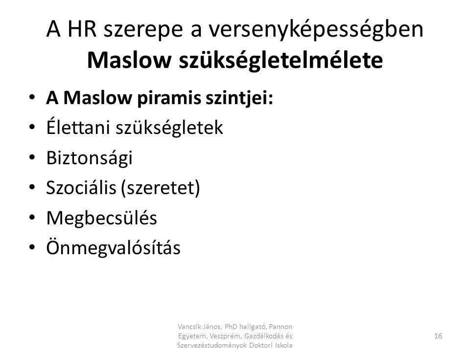 A HR szerepe a versenyképességben Maslow szükségletelmélete A Maslow piramis szintjei: Élettani szükségletek Biztonsági Szociális (szeretet) Megbecsülés Önmegvalósítás 16 Vancsik János, PhD hallgató, Pannon Egyetem, Veszprém, Gazdálkodás és Szervezéstudományok Doktori Iskola