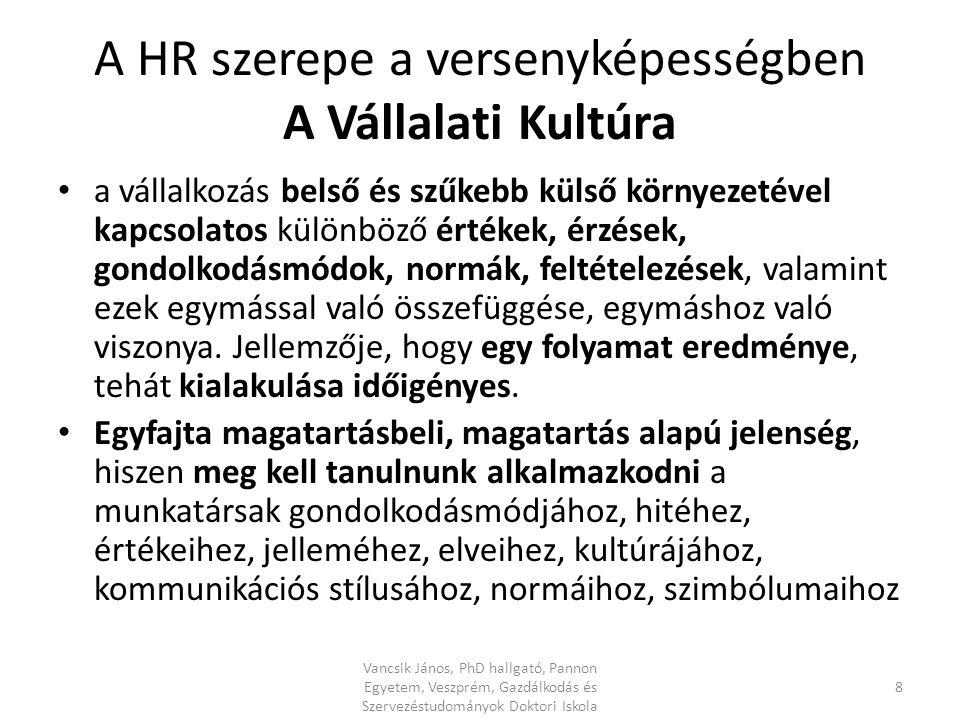 A HR szerepe a versenyképességben A Vállalati Kultúra a vállalkozás belső és szűkebb külső környezetével kapcsolatos különböző értékek, érzések, gondolkodásmódok, normák, feltételezések, valamint ezek egymással való összefüggése, egymáshoz való viszonya.