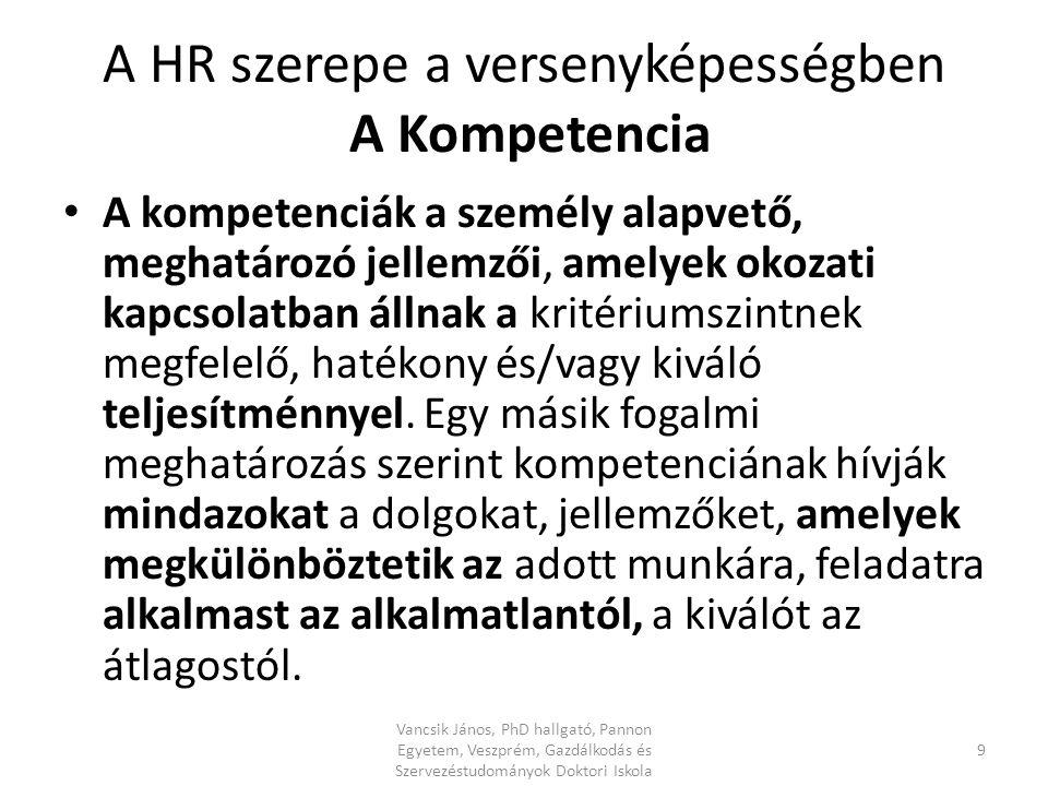 A HR szerepe a versenyképességben A Kompetencia A kompetenciák a személy alapvető, meghatározó jellemzői, amelyek okozati kapcsolatban állnak a kritériumszintnek megfelelő, hatékony és/vagy kiváló teljesítménnyel.