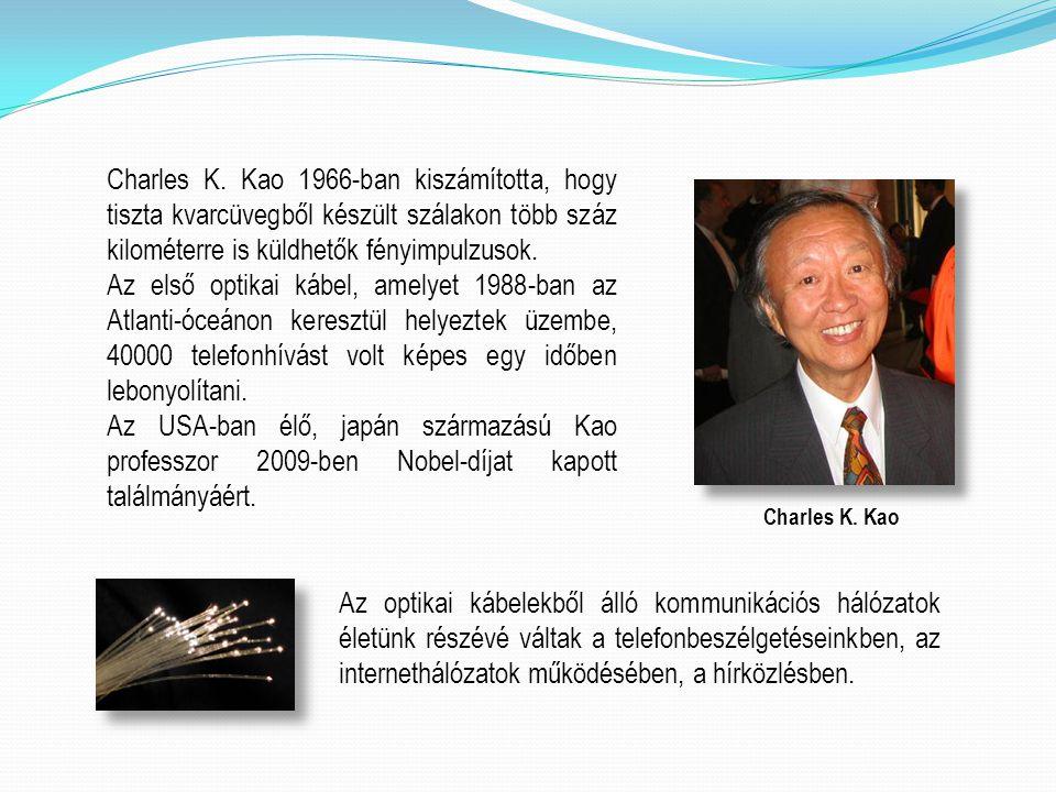Charles K. Kao 1966-ban kiszámította, hogy tiszta kvarcüvegből készült szálakon több száz kilométerre is küldhetők fényimpulzusok. Az első optikai káb