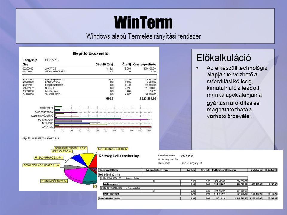WinTerm Windows alapú Termelésirányítási rendszer Előkalkuláció Az elkészült technológia alapján tervezhető a ráfordítási költség, kimutatható a leado