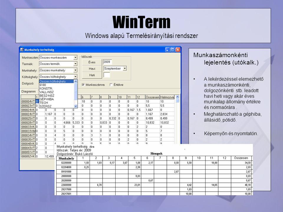 WinTerm Windows alapú Termelésirányítási rendszer Munkaszámonkénti lejelentés (utókalk.) A lekérdezéssel elemezhető a munkaszámonkénti, dolgozónkénti