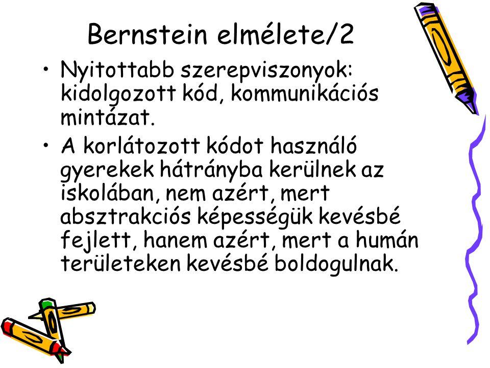 Bernstein elmélete/2 Nyitottabb szerepviszonyok: kidolgozott kód, kommunikációs mintázat. A korlátozott kódot használó gyerekek hátrányba kerülnek az