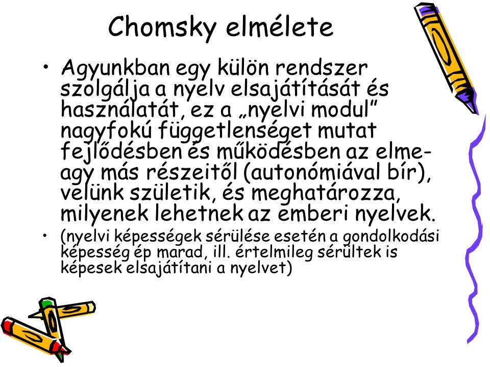 """Chomsky elmélete Agyunkban egy külön rendszer szolgálja a nyelv elsajátítását és használatát, ez a """"nyelvi modul"""" nagyfokú függetlenséget mutat fejlőd"""