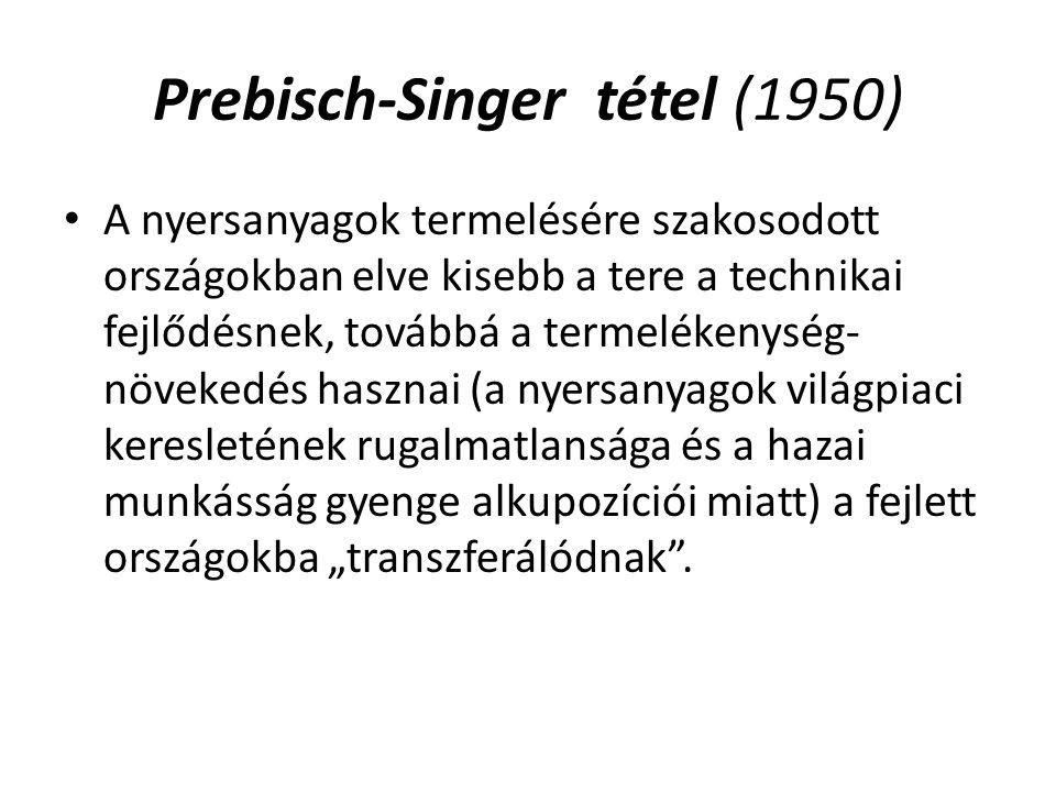 Prebisch-Singer tétel (1950) A nyersanyagok termelésére szakosodott országokban elve kisebb a tere a technikai fejlődésnek, továbbá a termelékenység-