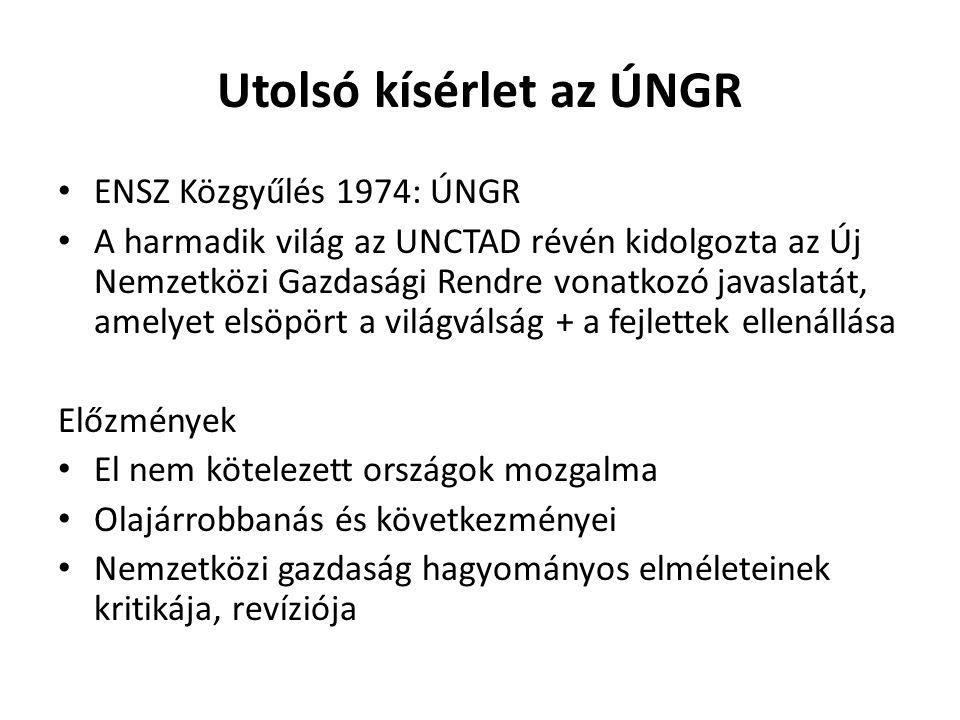 Utolsó kísérlet az ÚNGR ENSZ Közgyűlés 1974: ÚNGR A harmadik világ az UNCTAD révén kidolgozta az Új Nemzetközi Gazdasági Rendre vonatkozó javaslatát, amelyet elsöpört a világválság + a fejlettek ellenállása Előzmények El nem kötelezett országok mozgalma Olajárrobbanás és következményei Nemzetközi gazdaság hagyományos elméleteinek kritikája, revíziója