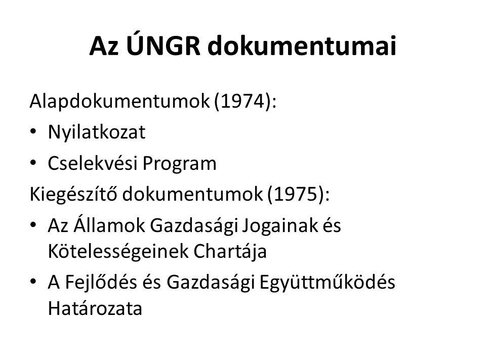 Az ÚNGR dokumentumai Alapdokumentumok (1974): Nyilatkozat Cselekvési Program Kiegészítő dokumentumok (1975): Az Államok Gazdasági Jogainak és Köteless