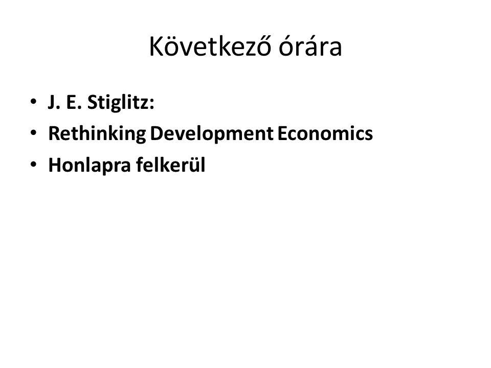 Következő órára J. E. Stiglitz: Rethinking Development Economics Honlapra felkerül