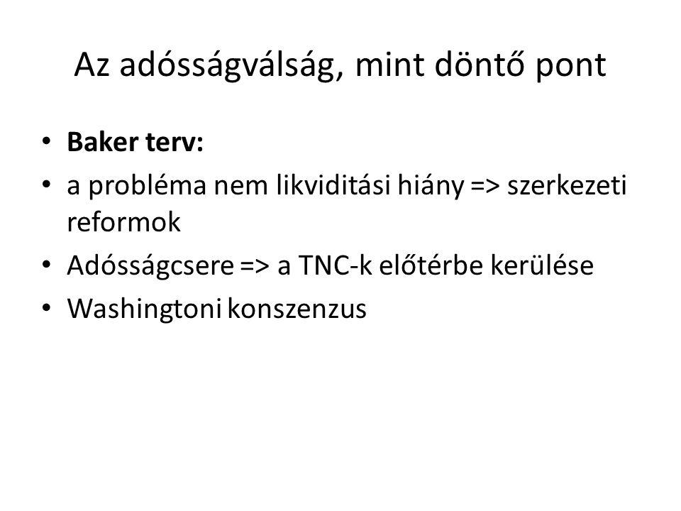 Az adósságválság, mint döntő pont Baker terv: a probléma nem likviditási hiány => szerkezeti reformok Adósságcsere => a TNC-k előtérbe kerülése Washin