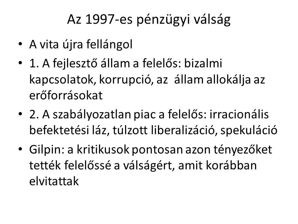 Az 1997-es pénzügyi válság A vita újra fellángol 1. A fejlesztő állam a felelős: bizalmi kapcsolatok, korrupció, az állam allokálja az erőforrásokat 2