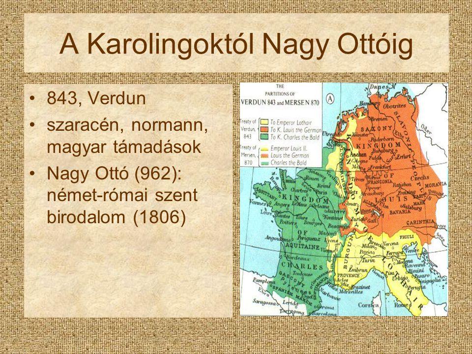 A Karolingoktól Nagy Ottóig 843, Verdun szaracén, normann, magyar támadások Nagy Ottó (962): német-római szent birodalom (1806)