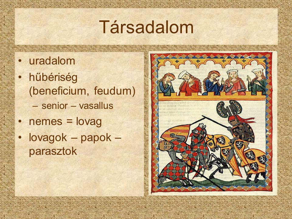 Társadalom uradalom hűbériség (beneficium, feudum) –senior – vasallus nemes = lovag lovagok – papok – parasztok