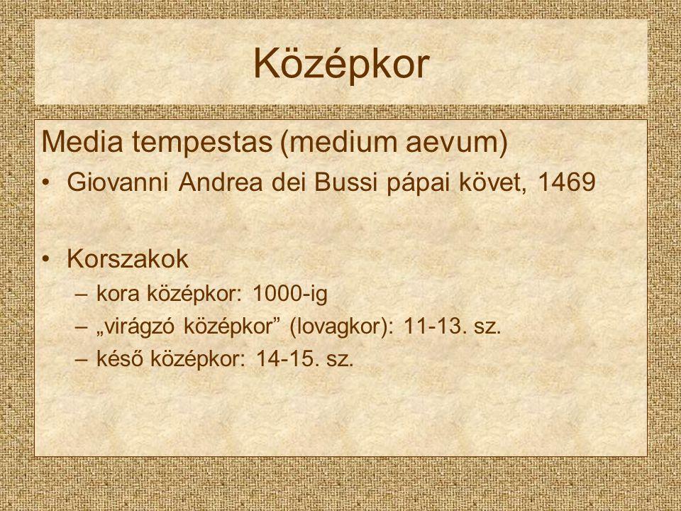 """Középkor Media tempestas (medium aevum) Giovanni Andrea dei Bussi pápai követ, 1469 Korszakok –kora középkor: 1000-ig –""""virágzó középkor"""" (lovagkor):"""