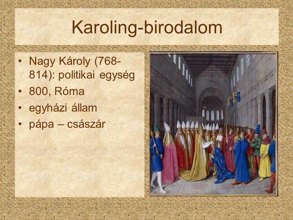 Karoling-birodalom Nagy Károly (768- 814): politikai egység 800, Róma egyházi állam pápa – császár