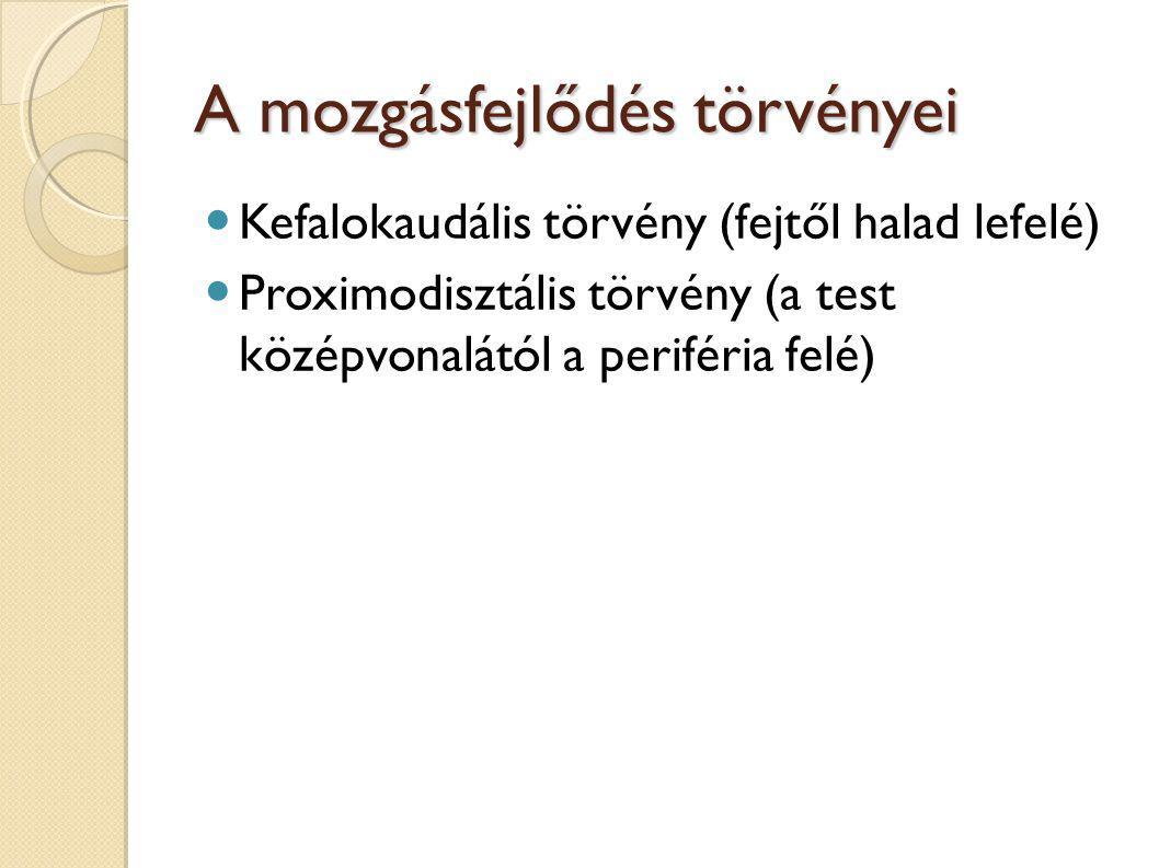 A mozgásfejlődés törvényei Kefalokaudális törvény (fejtől halad lefelé) Proximodisztális törvény (a test középvonalától a periféria felé)