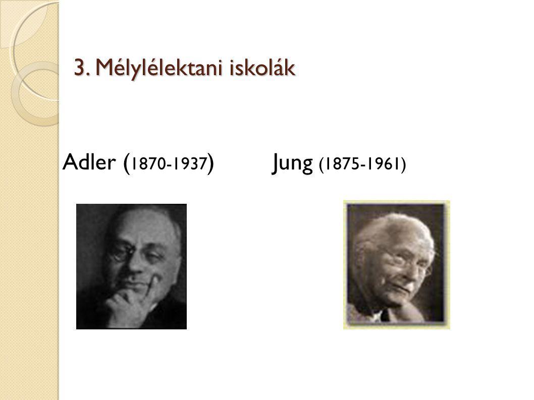 3. Mélylélektani iskolák Adler ( 1870-1937 ) Jung (1875-1961)
