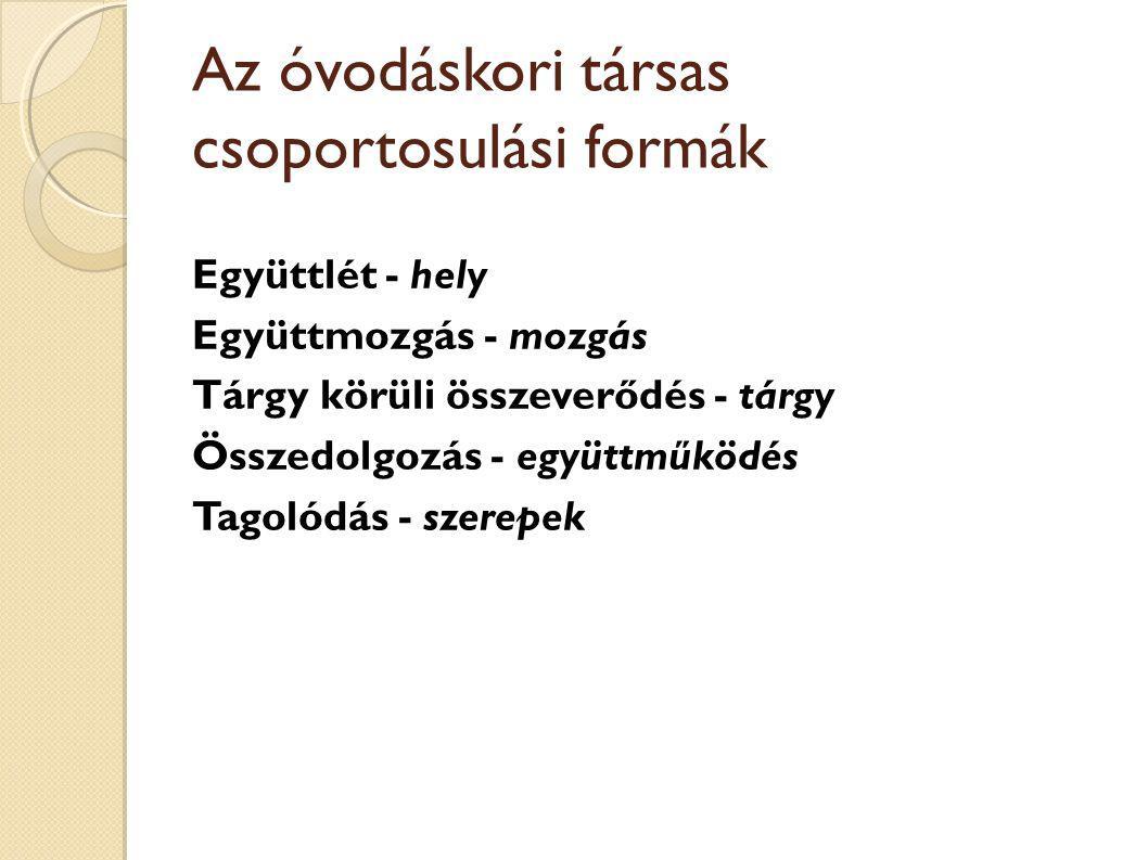 Az óvodáskori társas csoportosulási formák Együttlét - hely Együttmozgás - mozgás Tárgy körüli összeverődés - tárgy Összedolgozás - együttműködés Tagolódás - szerepek