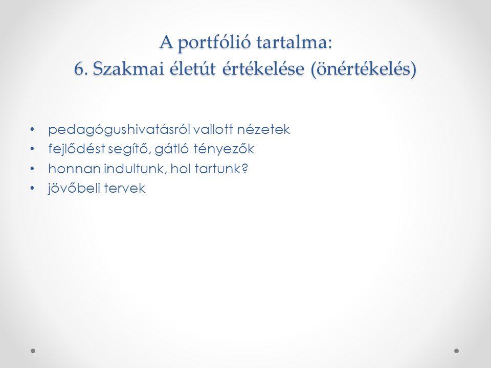 A portfólió tartalma: 6.