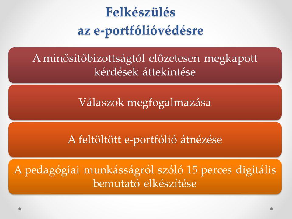 Felkészülés az e-portfólióvédésre A minősítőbizottságtól előzetesen megkapott kérdések áttekintése Válaszok megfogalmazásaA feltöltött e-portfólió átnézése A pedagógiai munkásságról szóló 15 perces digitális bemutató elkészítése