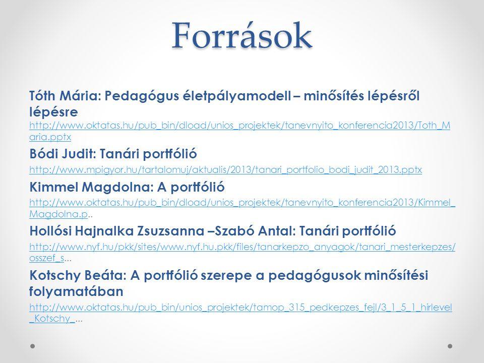 Források Tóth Mária: Pedagógus életpályamodell – minősítés lépésről lépésre http://www.oktatas.hu/pub_bin/dload/unios_projektek/tanevnyito_konferencia2013/Toth_M aria.pptx http://www.oktatas.hu/pub_bin/dload/unios_projektek/tanevnyito_konferencia2013/Toth_M aria.pptx Bódi Judit: Tanári portfólió http://www.mpigyor.hu/tartalomuj/aktualis/2013/tanari_portfolio_bodi_judit_2013.pptx Kimmel Magdolna: A portfólió http://www.oktatas.hu/pub_bin/dload/unios_projektek/tanevnyito_konferencia2013/Kimmel_ Magdolna.phttp://www.oktatas.hu/pub_bin/dload/unios_projektek/tanevnyito_konferencia2013/Kimmel_ Magdolna.p..