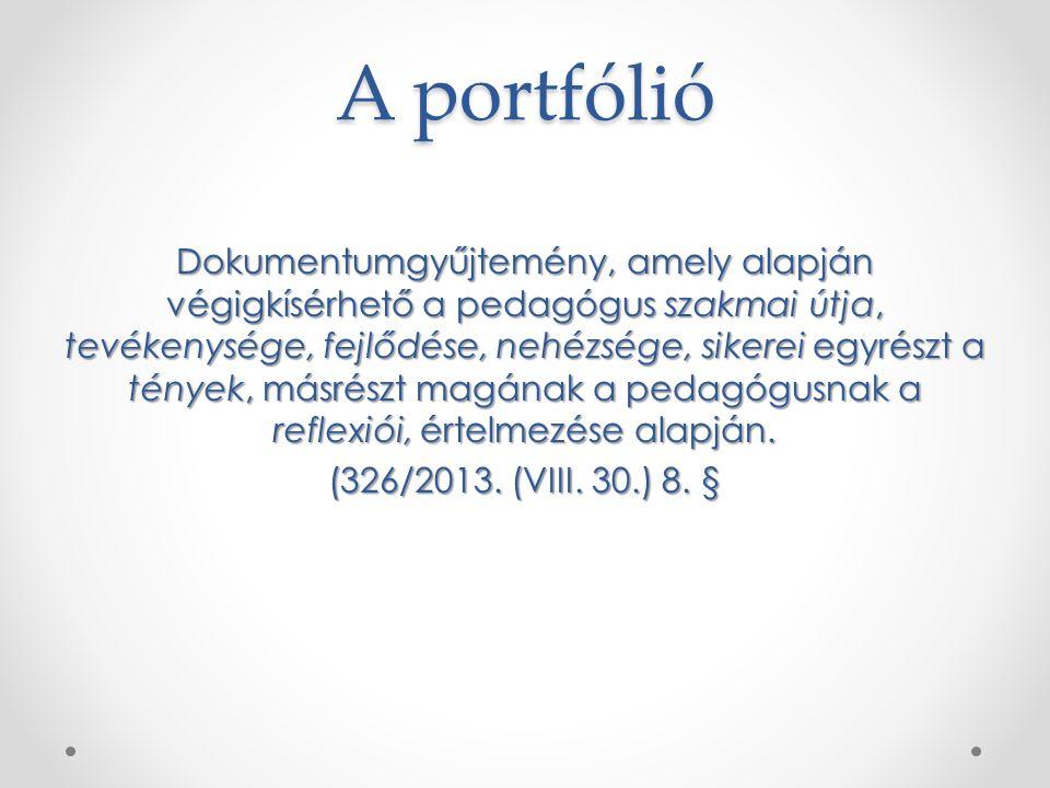 A portfólió Dokumentumgyűjtemény, amely alapján végigkísérhető a pedagógus szakmai útja, tevékenysége, fejlődése, nehézsége, sikerei egyrészt a tények, másrészt magának a pedagógusnak a reflexiói, értelmezése alapján.