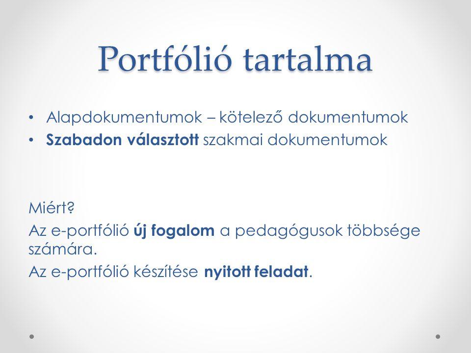 Portfólió tartalma Alapdokumentumok – kötelező dokumentumok Szabadon választott szakmai dokumentumok Miért.
