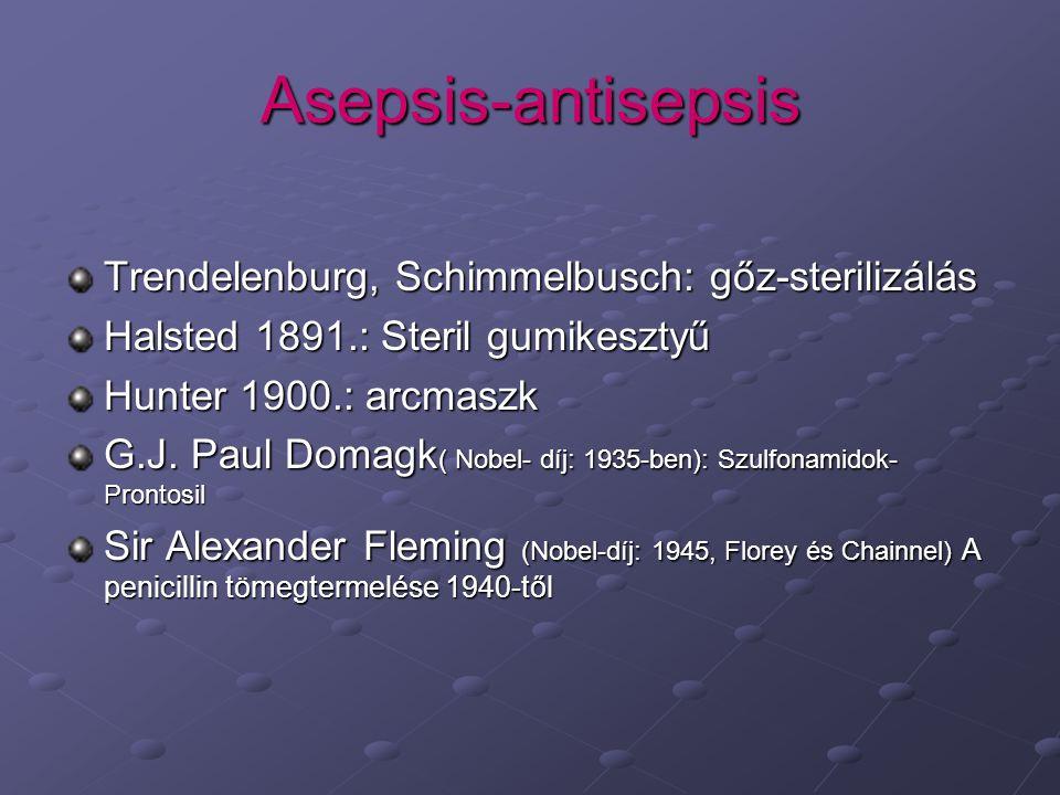 Asepsis-antisepsis Trendelenburg, Schimmelbusch: gőz-sterilizálás Halsted 1891.: Steril gumikesztyű Hunter 1900.: arcmaszk G.J.