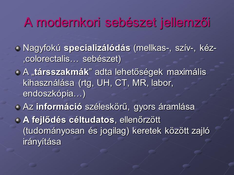 """A modernkori sebészet jellemzői Nagyfokú specializálódás (mellkas-, szív-, kéz-,colorectalis… sebészet) A """"társszakmák adta lehetőségek maximális kihasználása (rtg, UH, CT, MR, labor, endoszkópia…) Az információ széleskörű, gyors áramlása A fejlődés céltudatos, ellenőrzött (tudományosan és jogilag) keretek között zajló irányítása"""