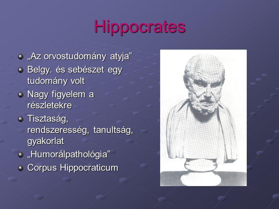"""Hippocrates """"Az orvostudomány atyja Belgy."""